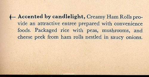 creamy ham rolls accented by candlelight